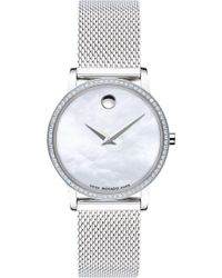 Movado Museum Classic Diamond Silver - Tone Watch - Metallic