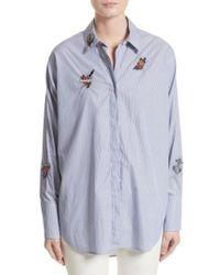 129f6a0421f89 Belstaff - Shauna Applique Cotton Shirt - Lyst