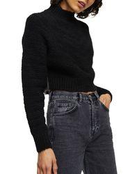 TOPSHOP Chevron Super Crop Knitted Sweater - Black