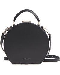 Saint Laurent Small Mica Leather Hat Box - Black