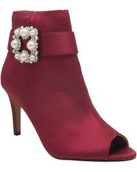 J. Reneé Pranati Embellished Open Toe Bootie - Red