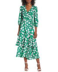 Eliza J - Asymmetrical Faux Wrap Maxi Dress - Lyst