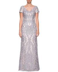 La Femme - Embroidered Lace Column Dress - Lyst