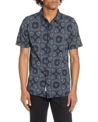 Native Youth Kata Short Sleeve Button-up Shirt - Blue