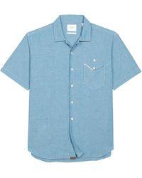 Billy Reid Scout Short Sleeve Regular Fit Chambray Shirt - Blue