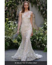 Monique Lhuillier - Indigo Embroidered Sleeveless Gown - Lyst