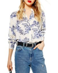 TOPSHOP - Tiger Printed Oversize Shirt - Lyst