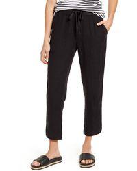 Caslon Caslon Track Style Linen Pants - Black