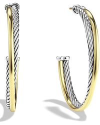 David Yurman - 'crossover' Extra-large Hoop Earrings With Gold - Lyst