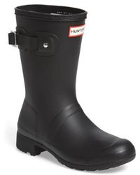 HUNTER - Original Tour Short Packable Rain Boot, Black - Lyst