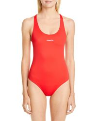 Vetements Red Logo Baywatch One-piece Swimsuit