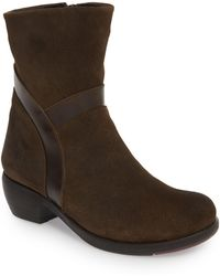 10f22e0bf455 Lyst - Tory Burch Samson Mixed-Media Lace-Up Bootie in Brown
