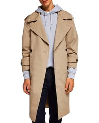 TOPMAN - Double Breasted Trench Coat - Lyst