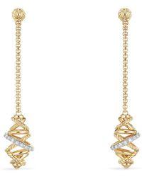 David Yurman - Crossover Chain Drop Earrings With Diamonds In 18k Gold - Lyst