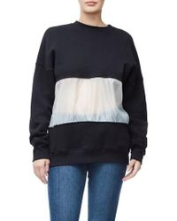 GOOD AMERICAN - Mixed Media Oversize Sweatshirt - Lyst