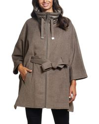 Ellen Tracy Quilted Collar Wool Blend Cape - Gray