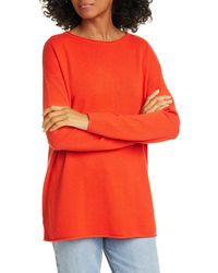Nordstrom Long Sleeve Cashmere Tunic Sweater - Red