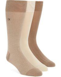 Calvin Klein - 3-pack Crew Socks, Beige - Lyst