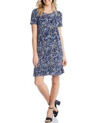 16a34533f23 Lyst - Karen Kane Floral Print Shift Dress in Blue