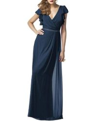 Dessy Collection - Sequin Flutter Sleeve Gown - Lyst