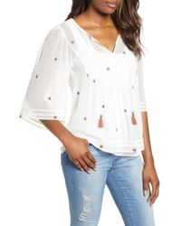 Lucky Brand - Embroidered Peasant Blouse - Lyst