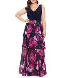 Xscape - Tiered Chiffon Gown - Lyst