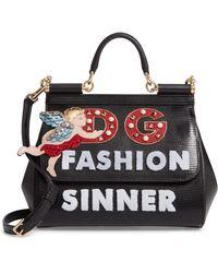 Dolce & Gabbana - Small Miss Sicily - Fashion Sinner Leather Satchel - - Lyst