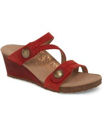 Aetrex Lydia Strappy Wedge Sandal - Red