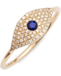 EF Collection - Jumbo Evil Eye Stack Diamond & Sapphire Stack Ring - Lyst
