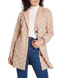 ModCloth Salient Wool Blend Coat - Pink