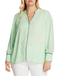 Vince Camuto Piped Button-up Shirt - Green