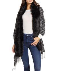 Love Token Faux Fur Trim Knit Wrap - Gray