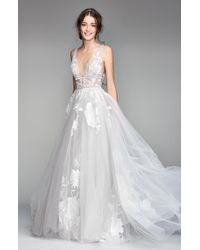 WILLOWBY Galatea Embroidered V-neck Tulle Wedding Dress - White