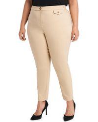 Vince Camuto Slim Cotton Blend Double Weave Pants - Natural