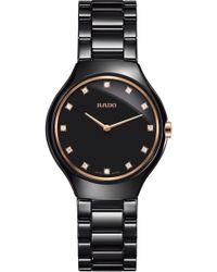 Rado - True Thinline Diamond Ceramic Bracelet Watch - Lyst
