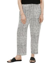 Eileen Fisher Check Slouchy Crop Pants - Black