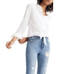 Madewell Tie Front Shirt - White
