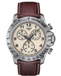 Tissot | V8 Chronograph Leather Strap Watch | Lyst