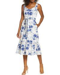 Donna Ricco Floral Sleeveless A-line Dress - Blue