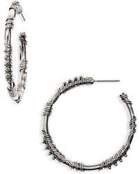 TOPSHOP - Engraved Hoop Earrings - Lyst