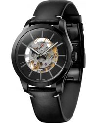 Calvin Klein - Swing Skeleton Automatic Leather Strap Watch - Lyst