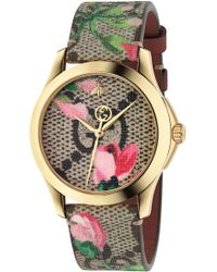 1787f18bc2c Lyst - Gucci G-timeless Bee Print Leather Watch in Green