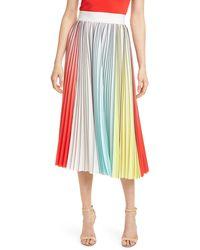 Alice + Olivia Arden Pleated Midi Skirt - Multicolour
