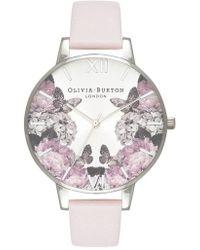 Olivia Burton - Signature Floral Leather Strap Watch - Lyst