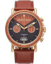 Original Grain Alterra Chronograph Leather Strap Watch - Multicolor