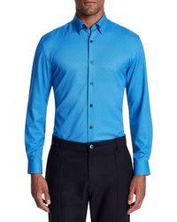 W.r.k. Trim Fit Performance Stretch Dot Dress Shirt - Blue
