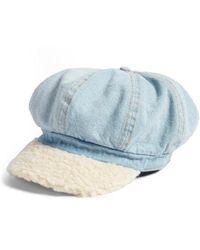 BP. - Faux Shearling & Denim Baker Boy Hat - Lyst