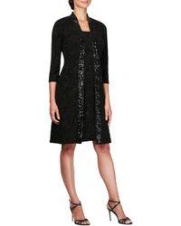 6270986b4ac6 Lyst - Alex Evenings Sequin Lace Tea Length Sheath Dress With Open ...