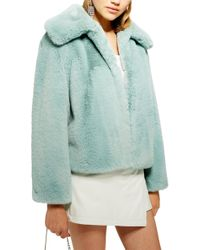 TOPSHOP Faux Fur Jacket - Green