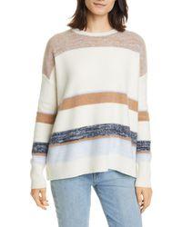 Nordstrom Stripe Crewneck Cashmere Sweater - Multicolour